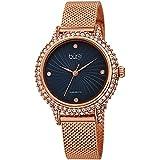 Burgi Swarovski BUR250 Women's Swarovski Crystal Studded Case Watch with 4 Diamond Markers On A Mesh Band (Rose Gold on Blue Dial)