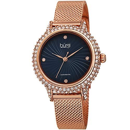 Burgi Swarovski BUR250 Women's Swarovski Crystal Studded Case Watch with...