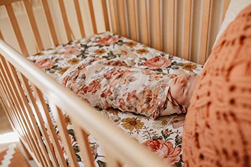 The Mini Scout Garden Floral (White) – Woven Cotton Fitted Crib Sheet for Baby