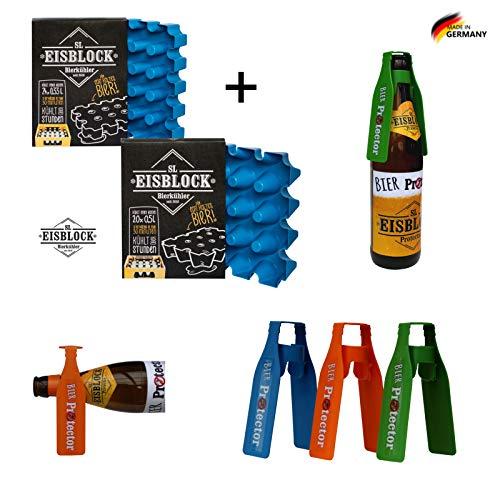 SL Eisblock Set Sparpaket 0,5l Bierkühler + 3 x Bier Protector Der Insektenschutz für Bierflaschen Geschenk TIPP Neu