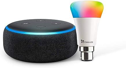 Echo Dot (3rd Gen Black) Bundle with Syska 9W smart color bulb