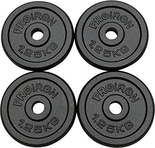 PROIRON Dischi Pesi Piastre Ghisa Peso Impostato 1.25kg, 2,5 kg, 5 kg, 10 kg per manubri da 1 Pollice(1,25kg*4)