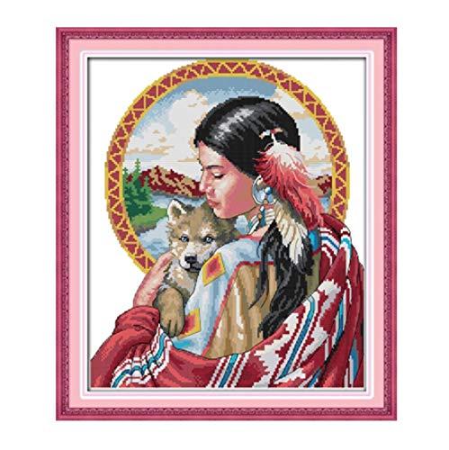 XIAOFANG Schöne indische Mädchen gedruckt Leinwand DMC Gezählt Kreuzstich-Kits Gedruckt Kreuzstich Set Stickerei Handarbeit (Cross Stitch Fabric CT Number : 11CT White Canvas)
