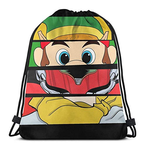 Drawstring Bags Su-per M-Ario Bros.3 Artículos Relojes W12C-1 Gym Travel Mochila con Cordón Hombres Anime Print Mujeres Cinch Bolsas Únicas Durables Mochilas con Cordón Ligero Casu