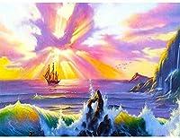 番号でペイント風景手描きのボートキャンバスに描く自然Diyの写真キット40x50CMフレームなし