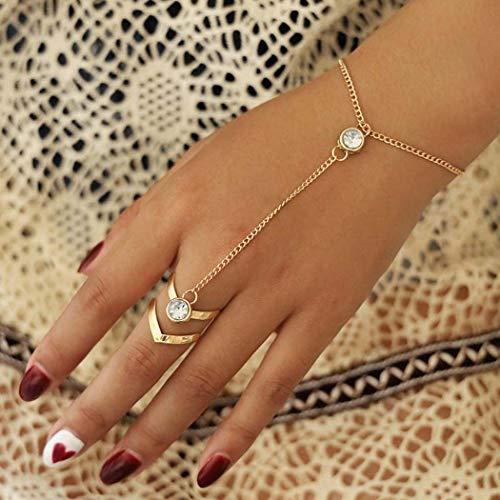Handcess Boho Crystal Pulseras Oro Arnés de mano Brazalete Anillos de dedo Accesorios de mano para mujeres y niñas