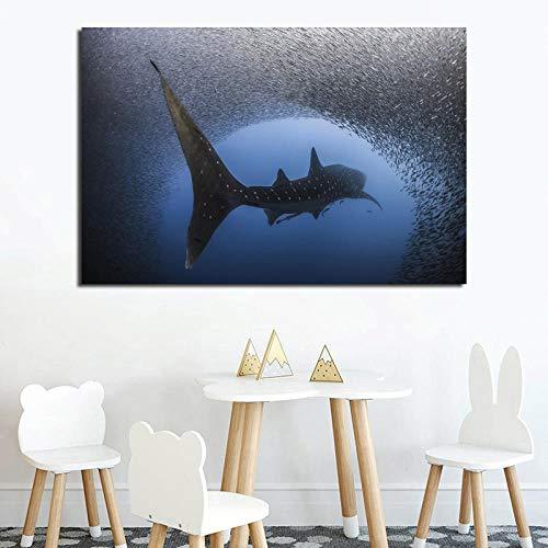 QianLei zeedieren wal kleine vis behang canvas schilderij druk woonkamer huis decoratie modern 60cmx90cm geen lijst