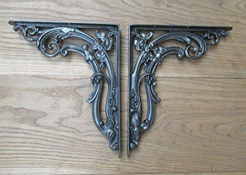 Ironmongery World/® de hierro envejecido Old Vintage de hierro forjado envejecido libro estante soporte de apoyo montado en la pared peque/ño gallows-hand forjado de hierro de