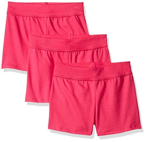 Hanes Little Girls' Jersey Short (Pack of 3), Amaranth, Medium