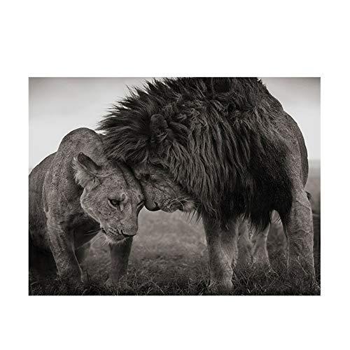 Keliour Blanco y Negro Pareja León Cartel Pintura Animales Salvajes Lienzo Cuadros Arte de la Pared Decoración Hogar Cuadros para Sala de Estar Carteles-60x100cm Sin Marco