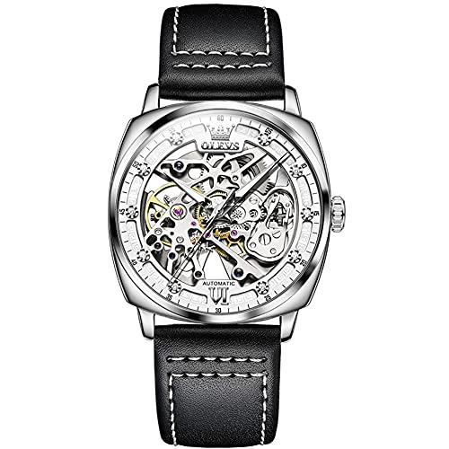 Reloj mecánico automático para Hombre, Correa de Cuero, Esfera Cuadrada Hueca con Personalidad Elegante, Regalo para Hombre