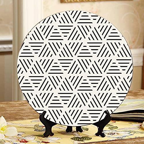 Placas de cerámica de color con diseño de triángulo brillante y con soporte de exhibición para decoración del hogar