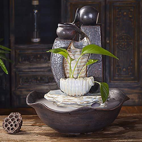 Fuentes de Interior Bomba de agua Oficina Sala de estar fuente de escritorio Silencio humidificador Feng Shui Lucky decoración de interiores Fuente de cerámica hecha a mano de la fuente libre, 16.5' H