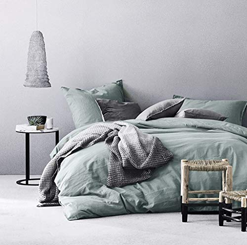 Eikei Washed Cotton Chambray Duvet Cover Solid Color Casual Modern Style Bedding Set Relaxed Soft...
