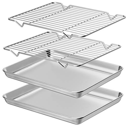 Wildone Baking Sheet with Rack Set [2 Sheets + 2 Racks], Stainless Steel Cookie Pan baking Tray with Cooling Rack, Size 10 x 8 x 1 Inch, Non Toxic & Heavy Duty & Easy Clean