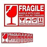 Lanyifang 336piezas Etiquetas Adhesiva Frágiles Etiqueta Fragil de Gran Tamaño y Llamativo Pegatinas de Advertencia Rojo Blanco 15x9cm