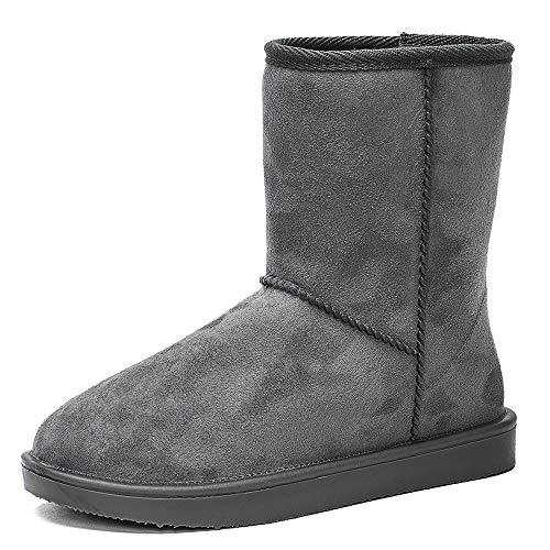 DKSUKO Women's Classic Waterproof Snow Boots Winter Boots (10 B(M) US, Gray)
