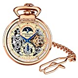 Stuhrling Orignal Mens Pocket Watch Automatic Watch Skeleton Watches for Men - Rose Gold Pocket...