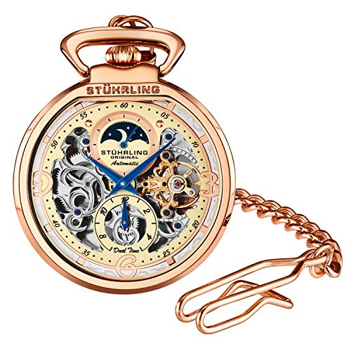 Stuhrling Orignal Mens Pocket Watch Automatic Watch Skeleton Watches for Men - Rose Gold Pocket Watch -...