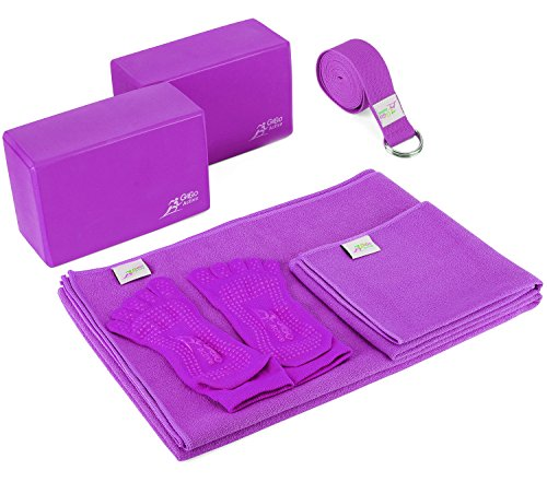Go Go Active Yoga Accessories Set - Includes 2 Yoga Blocks, 1 Microfiber Non Slip Mat Towel 72X24, 1 Microfiber Hand Towel 24X15, 1 Yoga Strap, 1 Pair of Yoga Socks (Purple)