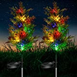 2PCs Solar Christmas Tree Lights Outdoor, 2.4ft LED Solar Garden Lights Multi-Color Flickering Solar Path Lights for Patio, Courtyard, Lawn Christmas Decoration, IP65 Waterproof