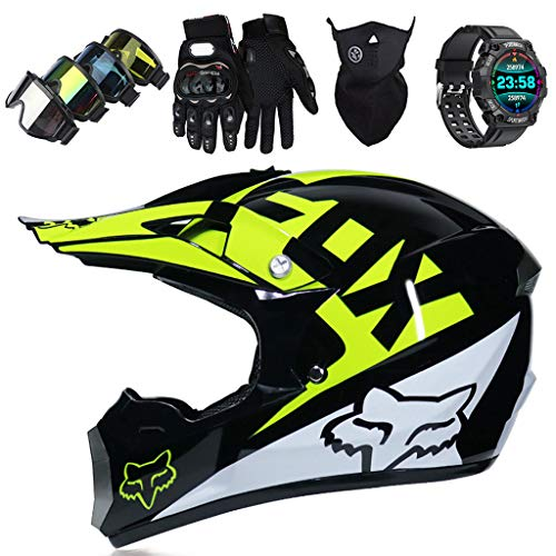 Casco Motocross Niños y Adulto, Casco de Moto Cascos a Off-Road con...