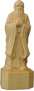 木彫置物 【オブジェ・孔子像・彫工芸品】 柘植製高級木彫り 車載置物 天然ツゲ 彫刻置物 手彫り置物 美術品 飾り物 (サイズ:15/20cm)