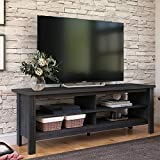 FITUEYES Farmhouse Wood TV Stands for 65 inch Flat Screen, Storage Shelves Entertainment Center,TV Console for Living Room,59 inch,Black