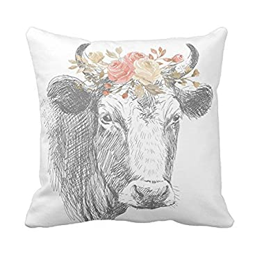 Farmhouse Pillow Farmhouse Floral Cow Pillow Cover