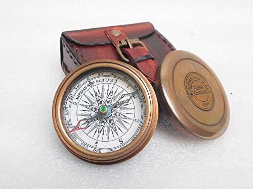 KHUMYAYAD Brújula de bolsillo de latón antiguo hecho a mano totalmente funcional con funda de cuero