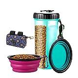 YeenGreen Botella de Agua para Perros, Portatil Envase de Comida Botella de Agua de Viaje para Mascotas con 2 Plegable Tazones, 1 Bolsa de Almacenamiento, para al Aire Libre Caminar Viajar