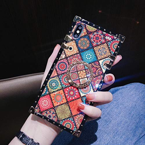 Retro Square Blue Ray Phone Case for iPhone Xs Max with Holder Ring Indian Hippie Bohemian Psychedelic Peacock Mandala Shockproof Cover (Pattern2, iPhone Xs Max 6.5'')