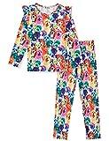 Jxstar Girls Pajamas Pjs Set Flutter Sleeve Sleepwear Kids Fall Winter Cotton Night Clothes