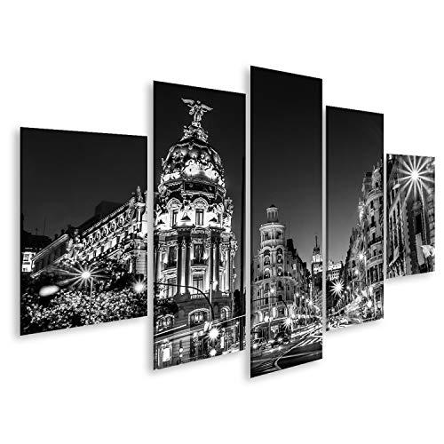 Cuadros de Salon Rayos de semáforos en la Calle Gran Vía, Principal Calle Comercial de Madrid de Noche España, Europa Cuadro Decoracion de Pared Impresión en Lienzo Formato Grande Modernos OQL-MFP-N
