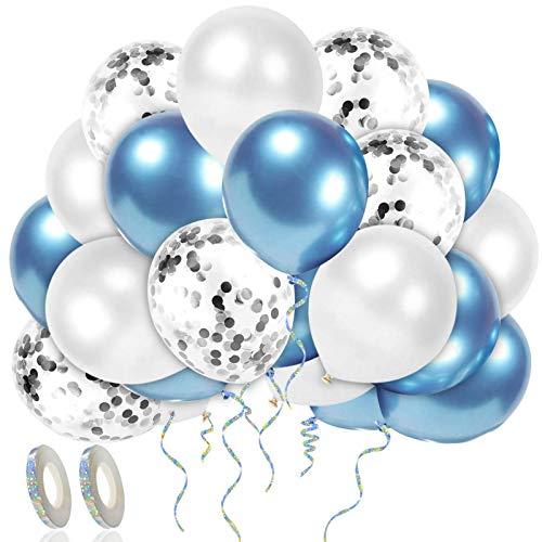 Luftballons Blau Weiß,52 Stück Luftballons Grün Blau Weiß,30 cm Metallic Konfetti Latex Ballons,Luftballons Konfetti,Metallic Gold Konfetti Balloons,Konfetti Balloons für Geburtstag