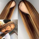 Highlight 27 Colored 4x4 PU Invisible Knots Lace Front Wigs Human Hair Scalp Top Lace Closure Wigs with Baby Hair 150% Density Pre-Plucked (22inch)