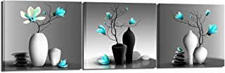 Nachic Wall - Modern Flower Painting Teal Orchid Wall Art Framed Set of 3 Zen Stones Turquoise Floral Pictures for Home Living Room Bathroom Spa Decoration Ready to Hang