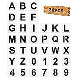 36 Plantillas de Letras y Plantillas de Números, Plantillas de Alfabeto Grandes Plantillas de Números Letras Reutilizables para Decoración Casa Pared Madera Pintar Bricolaje, 4 Pulgadas Blanco