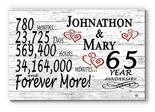 Broad Bay Personalized 65 Year Anniversary Sign Gift Sixty-Fifth Wedding Anniversary 65th for Couple Him Or Her Days Minutes Years