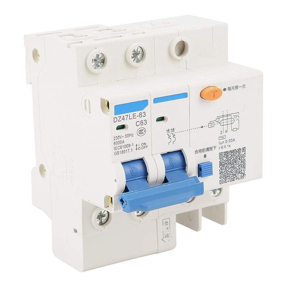 召集する話アナロジー残留電流遮断器DZ47LE-63 2P + N C63 RCCB残留電流遮断器230V 63A 30mA