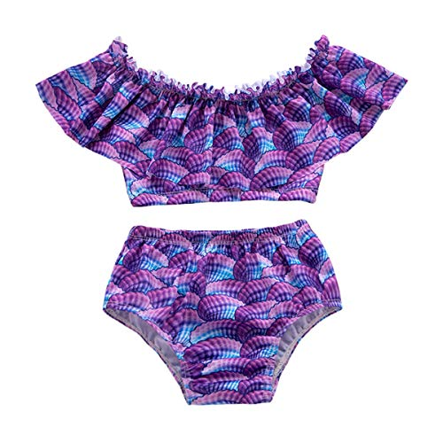 Haokaini Bebé Niñas Escamas de Pescado Volantes Sirena Traje de Baño Bikini Niño Dos Piezas Ropa de Playa Tankinis Bañarse