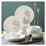 QFF Juego de vajillas de cerámica Hueso de hogar China Bowl Set Light Luxury Bowl Chopsticks Bowl Set 16 trozos de Placa China