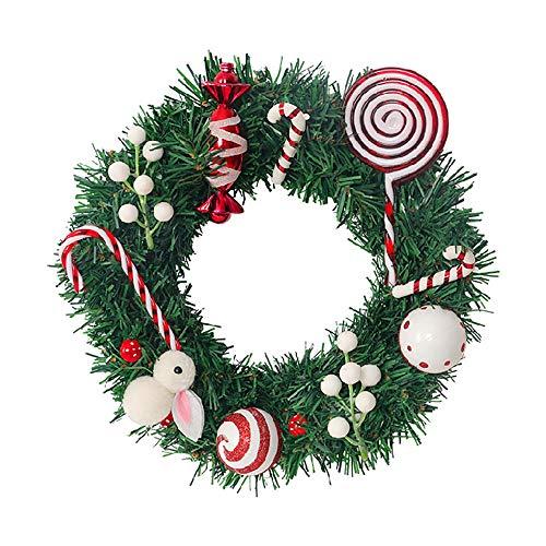 WUZJ Weihnachtsgirlande Kiefer künstliche Weihnachten hängende Girlande Girlande Süßigkeiten Weihnachtsfeier Geschenk Dekoration Haustür Fenster Dekoration (grün),30cm