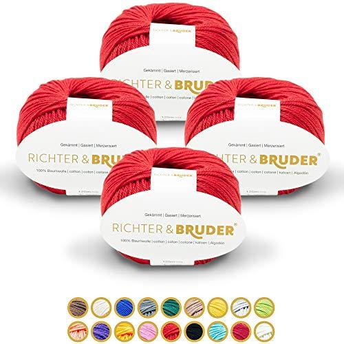 Richter & Bruder Wolle zum Stricken und Häkeln 4 x 50g/125m 100% Baumwolle Rot
