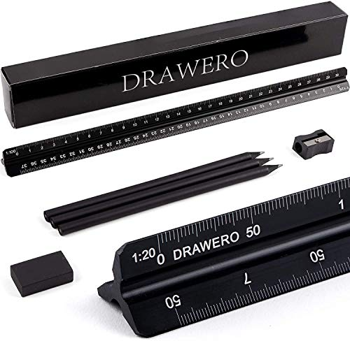 Scale Ruler Triangular Architectural 6Piece Set 12Inch Aluminum Black Architect Engineering Metal Scale Ruler 3 Pencils 1 Eraser 1 Pencil Sharpener for Engineers Architects Drawing Blueprints