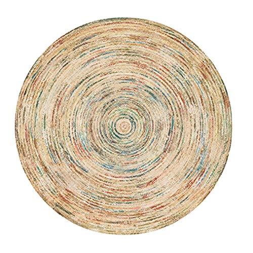 MISTJIA Motif De Jute Rond Naturel Imprimé sur Un Tapis Rond,A,200cm