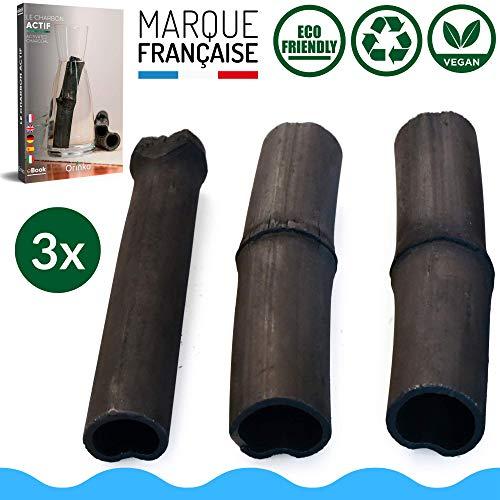 orinko Binchotan Bio 3X | Charbon Actif Binchotan de Bambou pour Purification d'eau en Carafe [𝗦𝗮𝘁𝗶𝘀𝗳𝗮𝗶𝘁 𝗼𝘂 𝗥𝗲𝗺𝗯𝗼𝘂𝗿𝘀𝗲]