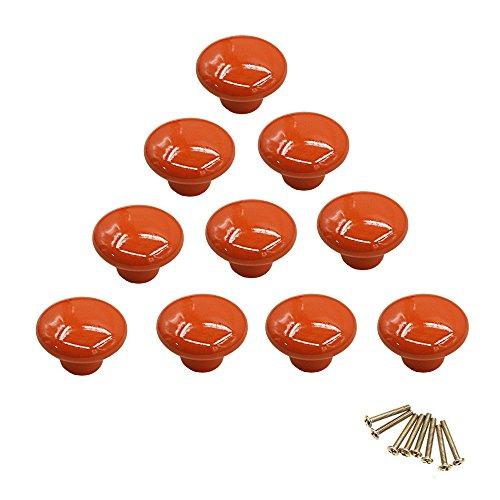 10 pomos redondos de cerámica de colores con un solo orificio, tirador para armario, aparador, puerta, cajón naranja