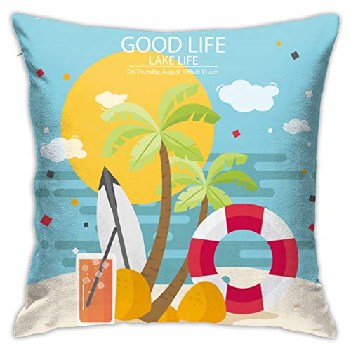 Pillow Covers Decorative Throw Lake Life is The Best Life Love Pillowcase Decor Home Sofa Bedroom Square Cushion Printed Car Bed Couch Living Room 18''x18'' 45 X 45cm