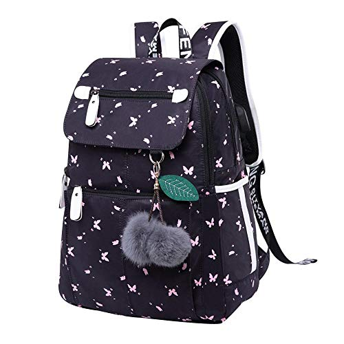 School Bags for Teens Rucksack Teenage for College Day Backpack Secondary School Bags Large Daypack with USB Laptop Travel Notebook Casual Balloon-Butterfly